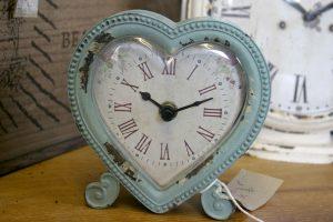 Heart shape boudoir clock