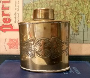 J.S&S brass tea caddy