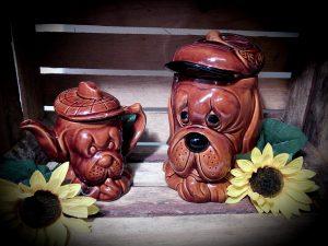 Vintage dog teapot and biscuit jar